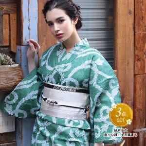 浴衣 レディース 3点セット (浴衣/帯/下駄) 緑 幾何学 (グリーン/幾何学)|hongkongmadam