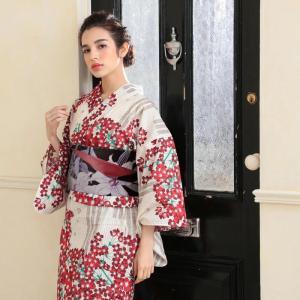 浴衣 レディース 3点セット (浴衣/帯/下駄) 白 桜 (...