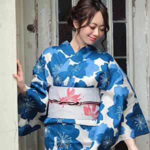 浴衣 レディース 3点セット (浴衣/帯/下駄) 青 ブルー 桜 (ブルー/桜)|hongkongmadam