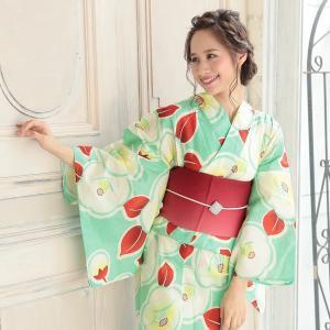 浴衣 レディース 3点セット (浴衣/帯/下駄) 緑 椿 (グリーン/椿(つばき))|hongkongmadam