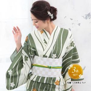 浴衣 レディース 3点セット (浴衣/帯/下駄) 緑 ストライプ (グリーン/ストライプ)|hongkongmadam
