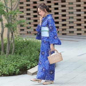 浴衣 レディース 3点セット (浴衣/帯/下駄) 青 (ブルー) (d6551)|hongkongmadam