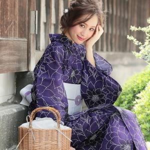 浴衣 レディース 3点セット (ゆかた/帯/下駄) 紫 牡丹 (パープル/牡丹(ぼたん))  [ レ...