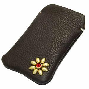 レザーモバイルケース(花柄スタッズ付き)【代引不可】【革】【スマートフォン】 [07]|honkeya