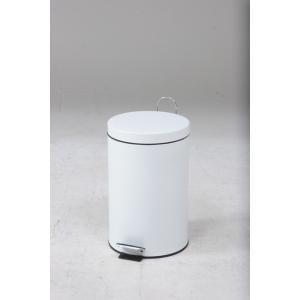 スチール ラウンドペダルペール 12L ホワイト 【代引不可】 [09]|honkeya