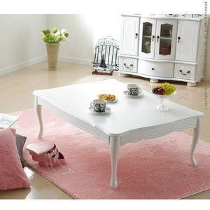 テーブル ローテーブル 折れ脚式猫脚テーブル 〔リサナ〕105×75cm 折りたたみ 折り畳み センターテーブル 猫足 ホワイト 白 座卓【代引不可】 [11] honkeya