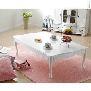 テーブル ローテーブル 折れ脚式猫脚テーブル〔リサナ〕120×75cm 折りたたみ 折り畳み 猫足 ホワイト 白 座卓【代引不可】 [11] honkeya