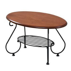 ヨーロッパ風 ロートアイアン 家具 楕円 センターテーブル 幅65cm アイアン 脚 アンティーク風 ソファテーブル ローテーブル サイドテーブル[18] honkeya