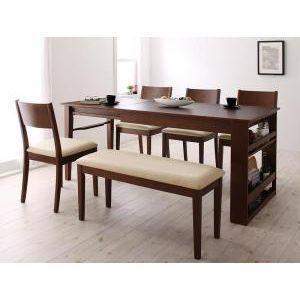 3段階に広がる!収納ラック付きエクステンションダイニング【Dream.3】/6点セット(テーブル+チェア×4+ベンチ)[00]|honkeya