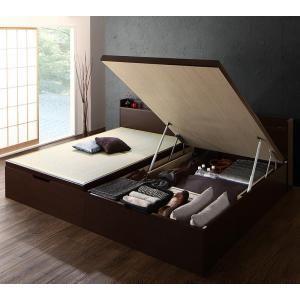 シンプルモダンデザイン大容量収納日本製棚付きガス圧式跳ね上げ畳ベッド 結葉 ユイハ セミダブル 深さラージ[4D][00] honkeya