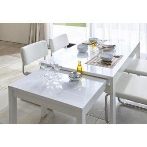 鏡面仕上げ スライド伸縮テーブルアーバンモダンデザインダイニング Lubey リュベ ダイニングテーブル W135-235(単品)[00] honkeya