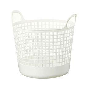 家具・インテリアラウンドバスケット SCB−1 W 【ホワイト】【代引不可】 [01]|honkeya