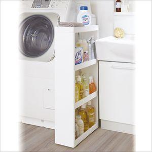 隙間収納 キッチン収納ストッカー サイドオープンワゴン 幅17cm ホワイト【代引不可】 [01]|honkeya