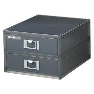 卓上収納 収納ボックス A4ファイルユニット 縦型2段 ライフモジュール ブラック【代引不可】 [01]|honkeya