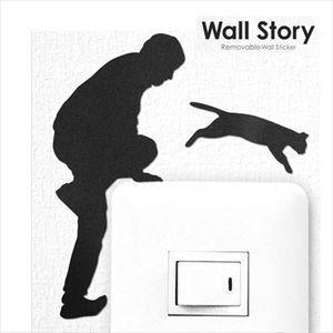 ウォールステッカー ウォールストーリー おじさん 猫逃亡【代引不可】 [01]|honkeya