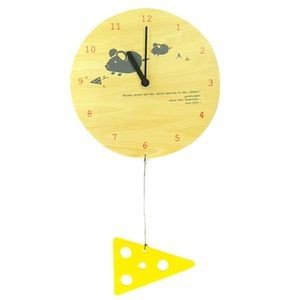掛け時計 MOBILE CLOCK チーズを食べたいネズミの親子 YK09-101 【代引不可】 [01] honkeya