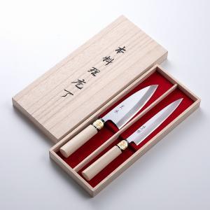 包丁ギフト 堺 重勝 一般向和包丁木箱入2本組ろ 出刃150/柳刃180|honmamon