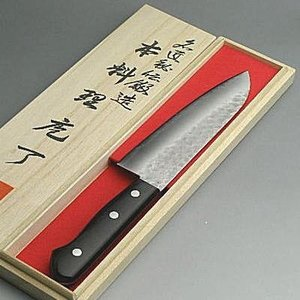 包丁 『男の料理包丁』鍛錬青紙鋼梨地三徳包丁鍔ナシ木箱入|honmamon