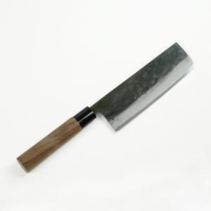 包丁 元兼 土佐 火造り鍛造 両刃 黒打 菜切包丁 青紙鋼165mm おすすめ 土佐打刃物|honmamon
