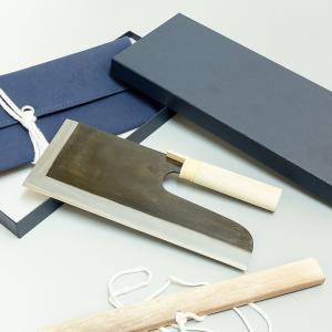 そば切り包丁 麺切り包丁 安来白紙鋼鍛造 黒打ち 蕎麦包丁 300mm 30cm 左用|honmamon