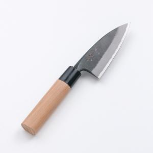 出刃包丁 元兼 土佐打刃物 火造り鍛造 両刃 黒打 出刃 青紙鋼 105mm|honmamon