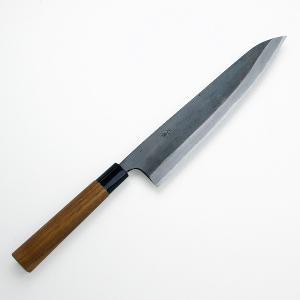 土佐打刃物 和式牛刀 包丁 元兼 極上 鍛造 両刃 黒打 青紙鋼 240mm|honmamon