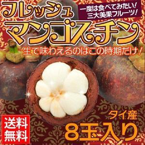 送料無料 世界三大美果のひとつ マンゴスチン 8玉入り 冷凍ではない生のフレッシュマンゴスチンです。