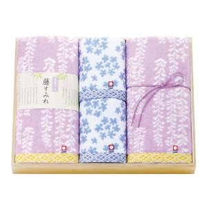 藤すみれ 木箱入り 今治産タオルセット/ (藤すみれ62380)|honpo-online