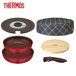 母の日 ギフト|サーモス THERMOS|取っ手のとれるフライパン6点セット(KFA-SET6/レッド)|保温カバー 木製プレート 26cm 28cm|honpo-online