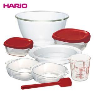 数量限定|HARIO ハリオ おうちクッキングセット (7点セット:ボウル/パイ皿/保存容器/メジャーカップ/スパチュラ)|耐熱ガラス 日本製 おうち時間 新生活|honpo-online