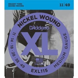 D'Addario EXL115 Nickel Wound, Medium/Blues-Jazz Rock, 11-49 (エレキギター弦) ダダリオ  (ネコポス)|honten