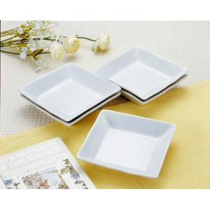 【在庫処分品】肥山陶苑   スクエアホワイト取皿 5枚組  231-0129   材質:磁器 *製造工程上、多少サイズが異なります。|hoonstore
