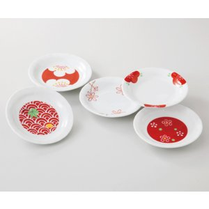 西海陶器  赤絵絵変り    小皿揃  51000      波佐見焼・美濃焼      材質:磁器|hoonstore