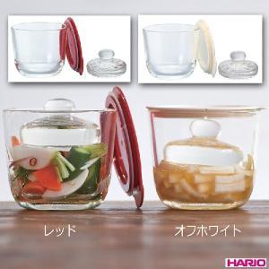 ハリオ HARIO ガラスの一夜漬け器 S 500ml レッド オフホワイト 各色別売|hoonstore