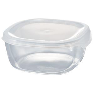 【お買得品!】ハリオ HARIO 耐熱ガラス製保存容器 角型600ml KST-60-TW 蓋カラー:透明ホワイト フタをしたまま電子レンジ加熱OK!|hoonstore