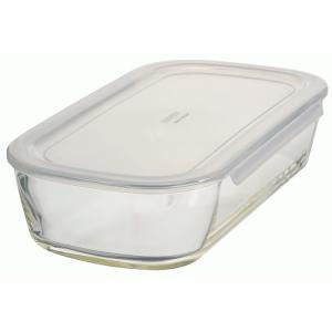 HARIO(ハリオ)  耐熱ガラス製 保存容器・角型1400ml  蓋カラー:透明ホワイト  満水容量1400ml、KSTL-140-TW *箱なし 日本製|hoonstore