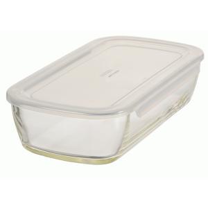 HARIO(ハリオ)  耐熱ガラス製 保存容器・角型900ml  蓋カラー:透明ホワイト  満水容量900ml、KSTL-90-TW *箱なし 日本製|hoonstore