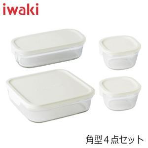 iwaki イワキ パック&レンジ 角型4点セット ホワイト 満水容量 200ml×2個&500ml×1個&1.2L×1個 hoonstore