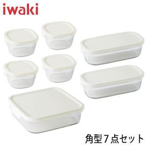 iwaki イワキ パック&レンジ 角型7点セット ホワイト 満水容量 200ml×4個&500ml×2個&1.2L×1個 hoonstore