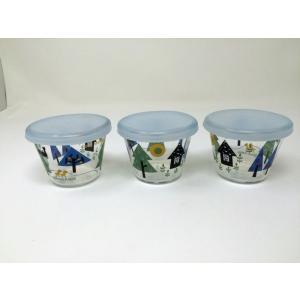 【訳あり在庫処分品】ShinziKatoh フタ付き耐熱ガラスプリンカップ 小 満水容量150ml wood 3個組 RG-36007-3 フタ汚れ等あり|hoonstore