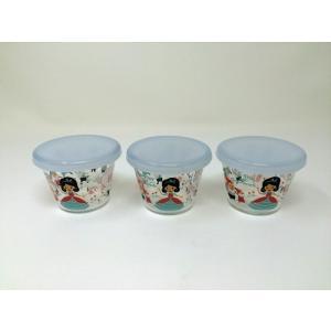 【訳あり在庫処分品】ShinziKatoh フタ付き耐熱ガラスプリンカップ 小 満水容量150ml snow white 3個組 RG-36007-3 フタ汚れ等あり|hoonstore
