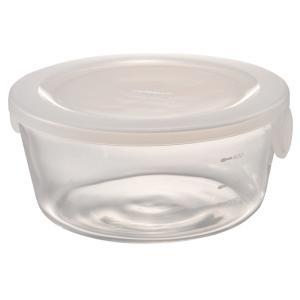 ハリオ HARIO 耐熱ガラス製 保存容器 丸 1200ml カラー:透明ホワイト 満水容量:1200ml SYTN-120-TW|hoonstore