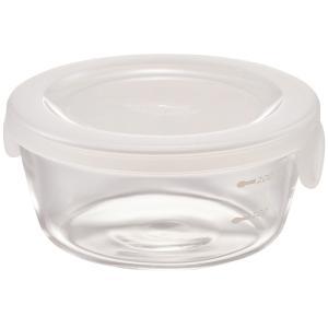 ハリオ HARIO 耐熱ガラス製 保存容器 丸 300ml カラー:透明ホワイト 満水容量:300ml SYTN-30-TW|hoonstore