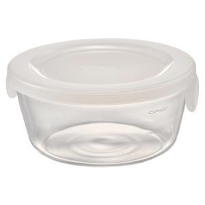 ハリオ HARIO 耐熱ガラス製 保存容器 丸 600ml カラー:透明ホワイト 満水容量:600ml SYTN-60-TW|hoonstore