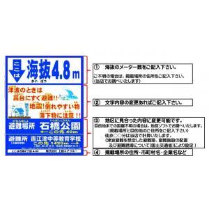 【津波・避難・海抜表示】掲示場所に合わせて内容変更します!420mmx600|hoonya-com