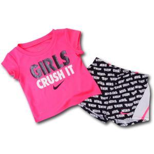 bacd2ca3682e3 BT466 ベビー ガールズ Nike ナイキ トレーニングシャツ&パンツ セットアップ ネオンピンク黒白