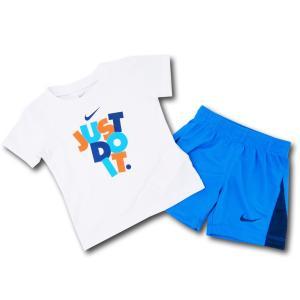 915fe5c047179 BT476 ベビー Nike ナイキ Tシャツ&パンツ セットアップ 白オリオンブルー