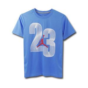 LK629 キッズ ジョーダン トレーニングシャツ 水色白赤/ドライフィット/  バスケットボール Kids Jordan Tee
