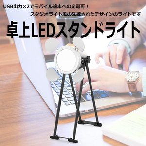 USB出力×2 卓上LEDスタンドライト|hori888