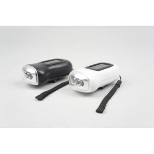 レビューで送料¥390 LEDライト ソーラーダイナモフラッシュライト ソーラー充電 手動充電 黒 ブラック|horidashi